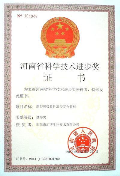 河南省科技进步三等奖