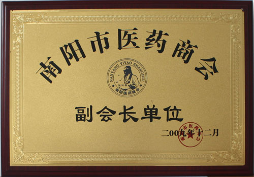 2009 Nanyang City Pharmaceutical Chamber of Commerce Vice President Unit